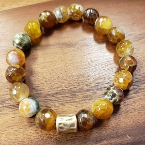 Brown Fire Agate Beads & Gold Accent Bracelet